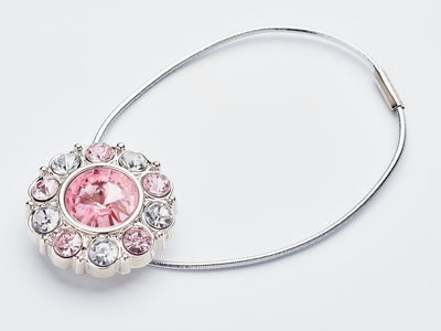 Rose Quartz and Diaamond Flower Gemstone Closure with Silver Elastic