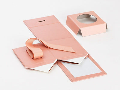 Rose Gold Small Folding Gift Box Supplied Flat with Insert
