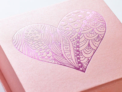 Rose Gold Gift Box with Pink Foil Blocked Heart Design
