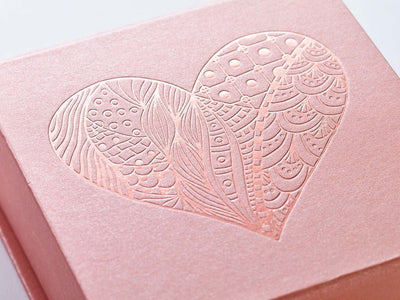 Example of Rose Gold Gift Box with Custom Printed Rose Gold Tone on Tone Foil Design