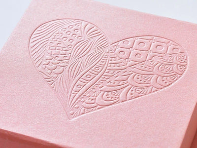 Example Rose Gold Gift Box with Custom Debossed Design