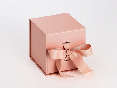 Rose Gold Large Cube Folding Gift Box with Ribbon