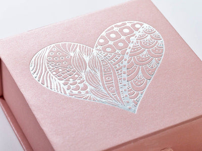 Example of Rose Gold gift box with silver foil printed heart design