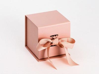 Rose Gold Small Cube Gift Box Supplied with Ribbon