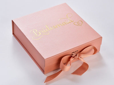 Rose Gold Keepsake Box with Bridesmaid design in Gold foil by Beau and Bella