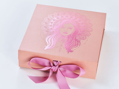 Rose Gold Folding Gift Box with Pink Foil Boho Diva Design and Wild Rose Grosgrain Ribbon