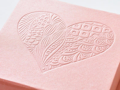 Rose Gold Luxury Gift Box with Custom Debossed Heart Design