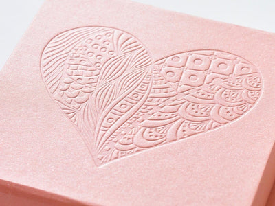 Example of Rose Gold Gift Box with Custom Debossed Design