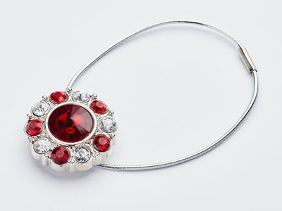 Ruby and Diamond Flower Gemstone with Silver Elastic Cord Loop