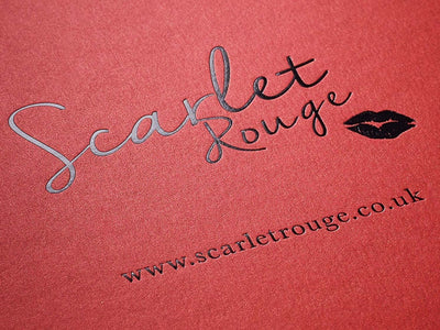 Custom Black Foil Logo to Lid of Red Pearl Gift Box