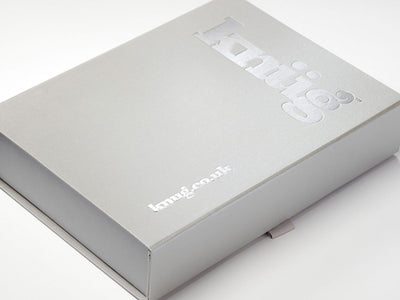Silver Gift Box with Custom Silver Foil Custom Printed Design to Lid