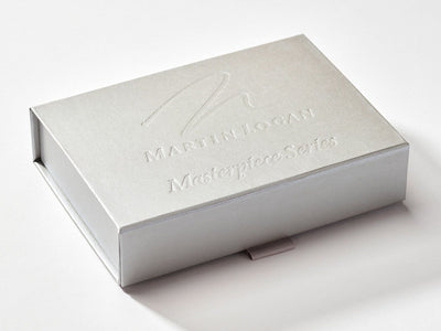 Silver Shallow Gift Box with Custom Debossed Design