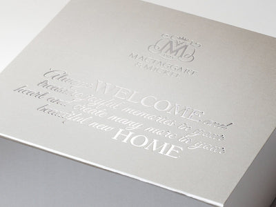 Silver XL Deep Gift Box with Custom Silver Foil Tone on Tone Printed Design