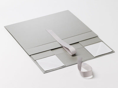 Silver A4 Deep Gift Box Sample Supplied Flat with Ribbon