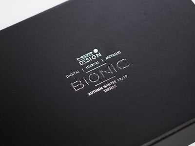 Black Folding Gift Box with Custom Printed Silver Foil Logo from Foldabox UK