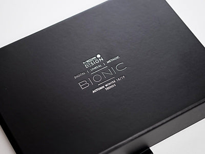 Black Gift Box with Custom Printed Silver Foil Logo from Foldabox UK