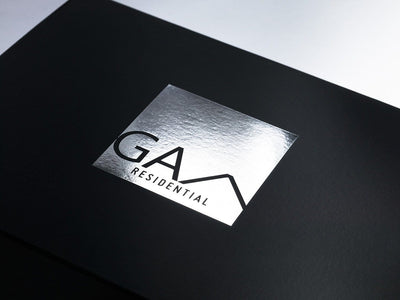 Black Folding Gift Box with Silver Foil Custom Printed Logo to Lid
