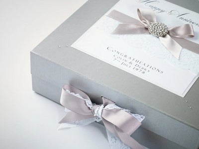 Silver  Large Gift Box with Hand Crafted Decoration as a Wedding Keepsake Box