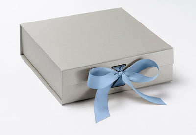 Silver Medium Slot Gift Box Featured with French Blue Ribbon