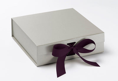 Medium Silver Slot Gift Box Featured with Plum Purple ribbon