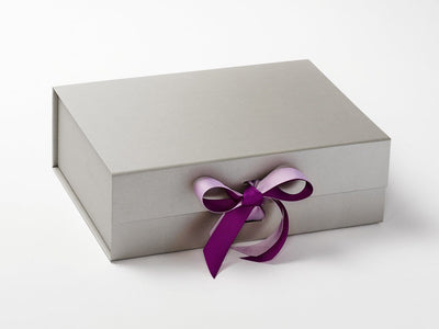 Silver Gift Box Featuring Ultra Violet and Fresco Mauve Double Ribbon Bow