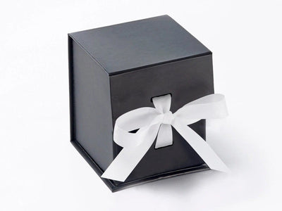 Small Black Cube Gift Box featured with white grosgrain ribbon from Foldabox