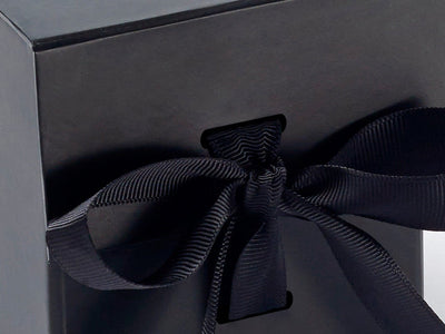 Small Black Cube with slots and ribbon detail from Foldabox UK