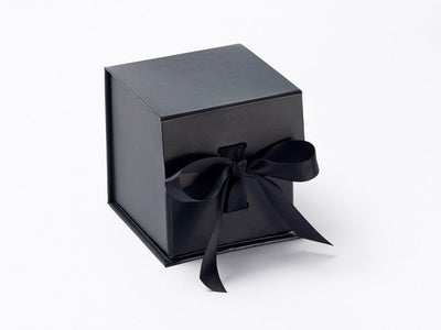 Small Black Cube Gift Box with Slots and Changeable Ribbon from Foldabox UK