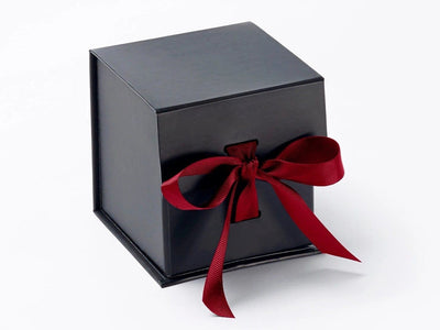 Small Black Cube Gift Box featured with dark red ribbon