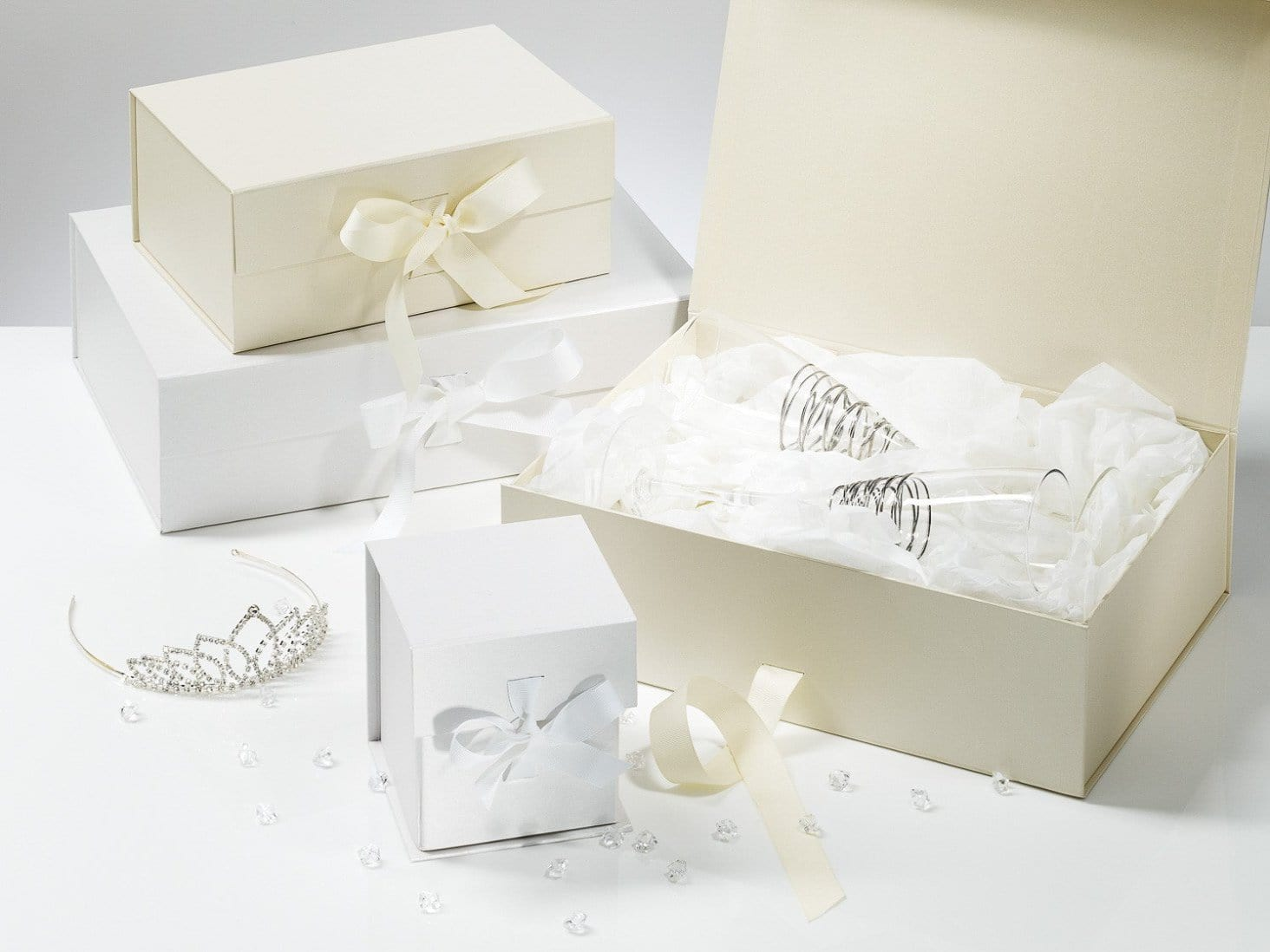 Wholesale white hamper gift boxes and keepsake boxes from foldabox foldabox uk white and ivory folding gift boxes for wedding and baby gifts and hampers negle Image collections