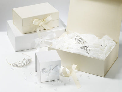 Luxury White and Ivory Keepsake Gift Boxes for Wedding and Bridal Gifts