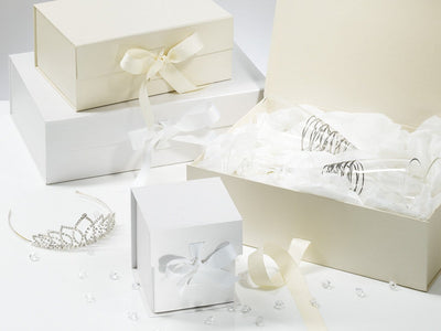 White Cube Gift Boxes for Wedding Favour Gifts and Bridal Party Keepsakes