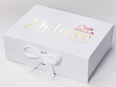 White A4 Deep Gift Box with 2 Colour Custom Printed Design