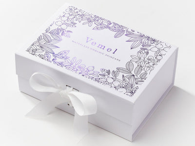 White A5 Deep Gift Box with Custom Foil Printed Design
