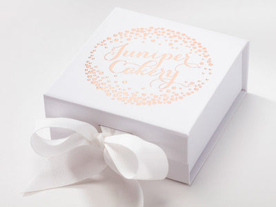 White Small Gift Box with Custom Rose Gold Foil Logo