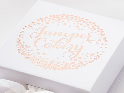 White Gift Box with Custom Rose  Gold Foil Printed Design