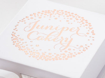 White SSmall Gift Box with Rose Gold Custom Foil Design