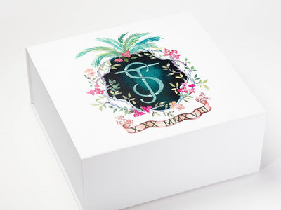White XL Deep Gift Box with CMYK Digital Print Design