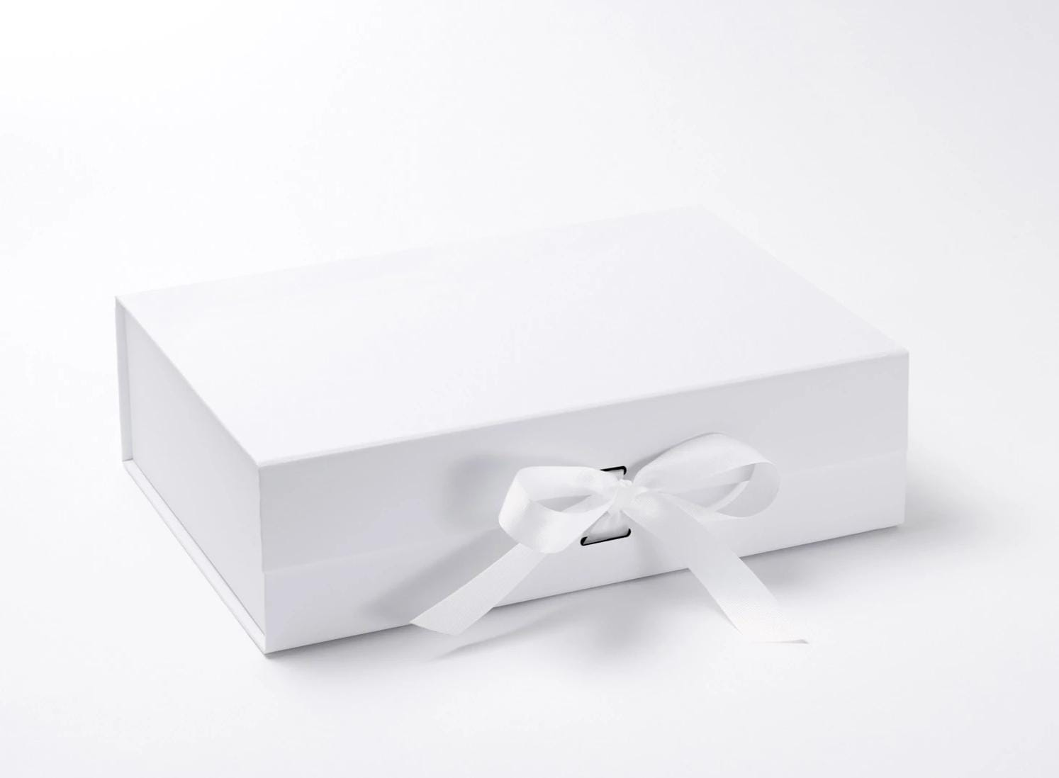 White A4 Deep Folding Slot Gift Box with Removable Ribbon