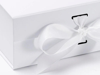 White A5 Deep Folding Gift Box with changeable ribbon detail
