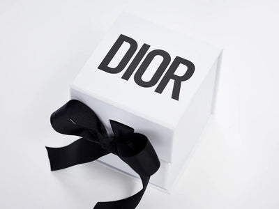 White Cube Gift Box with Black Custom Dior Logo and Black Ribbon