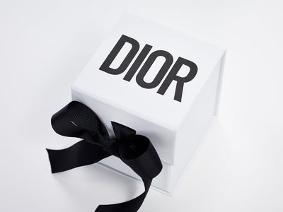 White Cube Gift Box with Custom Black Dior Logo and Black Ribbon