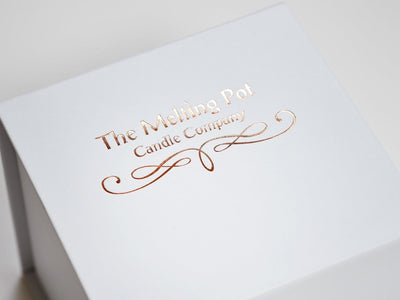 White Small Cube Gift Box with Custom Printed Rose Gold Foil Logo