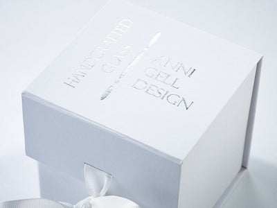 White Folding Small Cube Gift Box with Custom Foil Logo