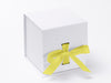 White Large Cube Slot Gift Box with Lemon Yellow Ribbon