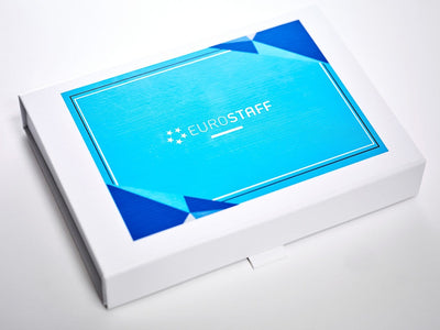 White A6 Shallow Folding Gift Box with CMYK Digitally Printed Design