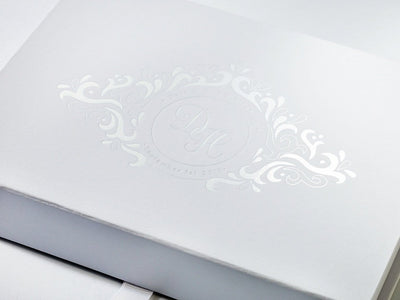 White A5 Shallow Folding Gift Box with Custom Printed White Foil Logo