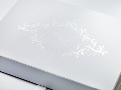 White A6 Shallow Folding Gift Box with Custom Printed White Foil Logo to Lid