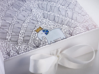 White Gift box with Hand Doodled Decoration by Custom Cubed
