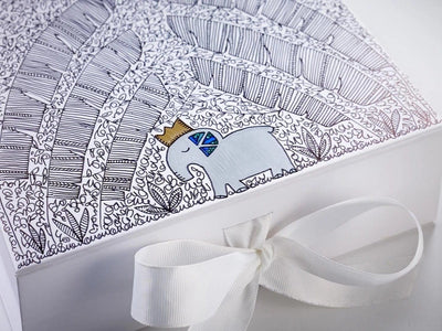 White Folding Gift Boxes with Hand Decoration by Custom Cubed